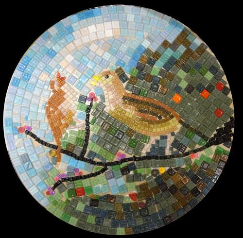Mosaic Workshop 13th December 2011 - Margaret Wilson - Bird Mosaic.  Margaret's two birds on a branch mosaic uses mainly tiles, with buttons here and there.  Copyright Margaret Wilson.