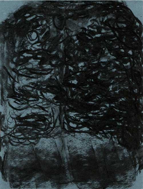 Charcoal drawing.  Abstract, the image is almost entirely black made up from repetitive circular drawing.  At the bottom of the image broad strokes of charcoal have been rubbed.