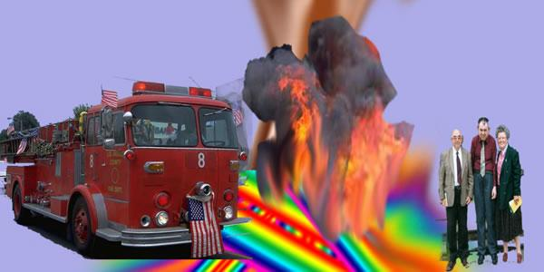 Images of a fire engine with american flags, a fire and three people are superimposed onto a blue background. In the bottom of the picture are stripes of colour in red, yellow, blue, green, orange, purple and pink.  Image by Richard.