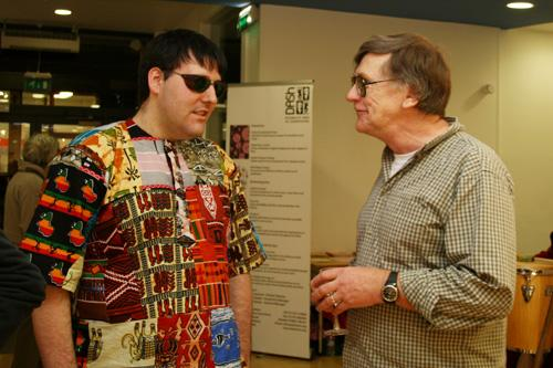 Richard, performance artist, and Rob, fine artist, discussing the trials and tribulations of being an artist at the Qube gallery exhibition. Photograph by Paula Dower copyright DASh