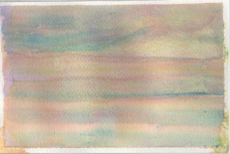 Watercolour painting.  Pink, blue and yellow are used to create horizontal stripes in this wash.