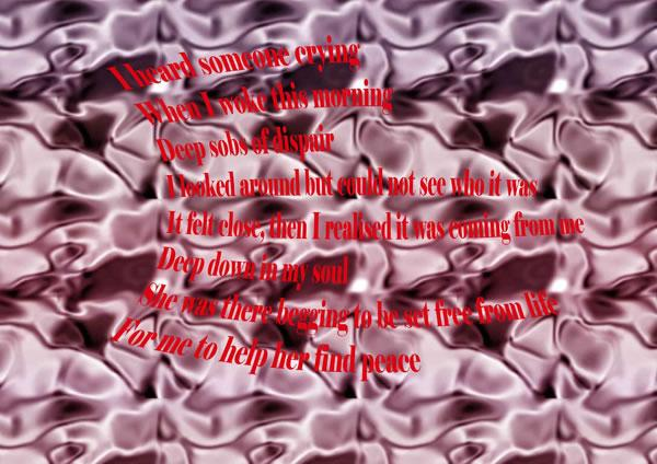 Red text lies over a purple watery background.  The text is a poem, a cry for help from inside the person.  Image by Sylvia.
